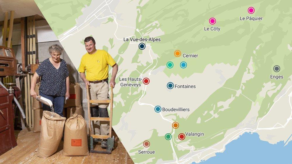 L'agricultrice Danielle Rouiller et le meunier Gérald Tock participent au Projet de développement régional Val-de-Ruz.