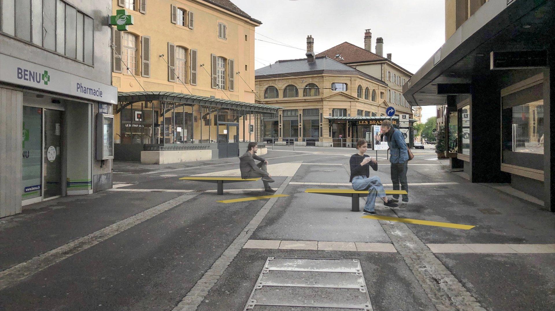 Cette image de synthèse  (ici à la rue Saint-Maurice) donne une idée de ce que donneront les bancs pivotants, auxquels s'ajoutera un marquage au sol.