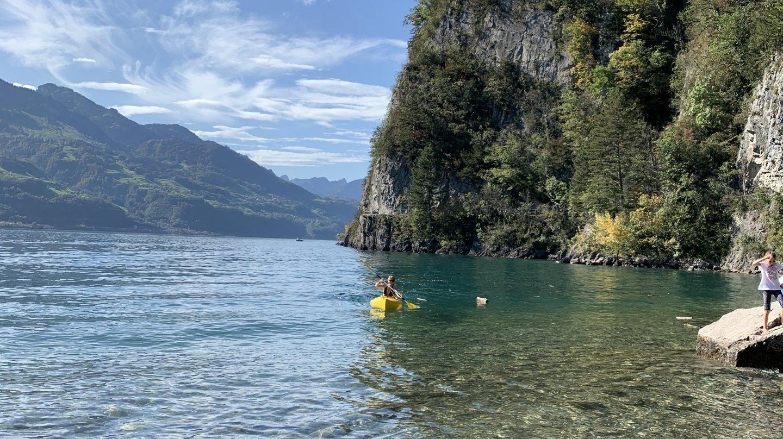 Les joies du kayak sur le lac de Walenstadt.