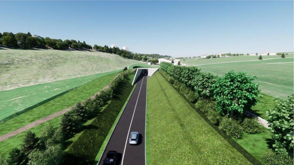 Le portail sud du tunnel de contournement prévu à La Chaux-de-Fonds.
