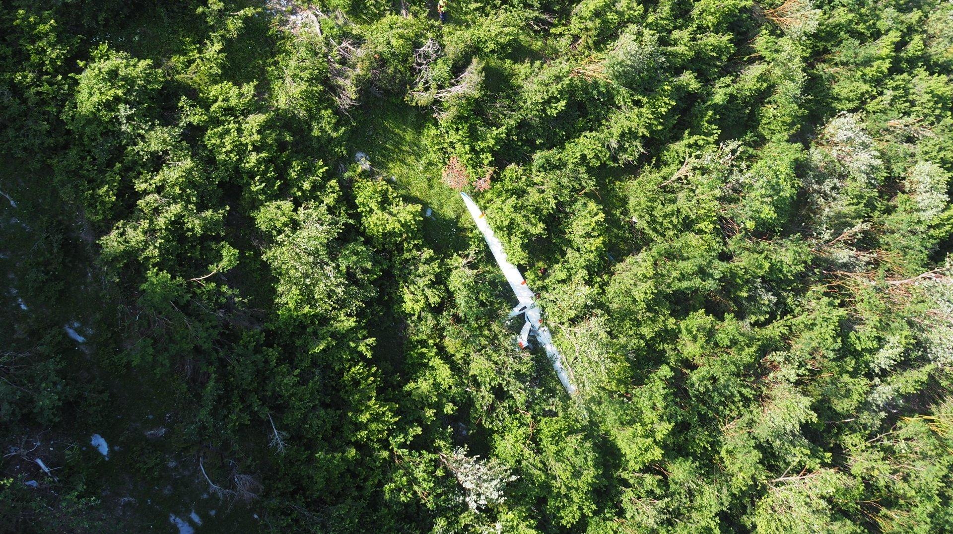 L'engin s'est écrasé dans le secteur de l'alpage de Flore, sur les hauts de Conthey.