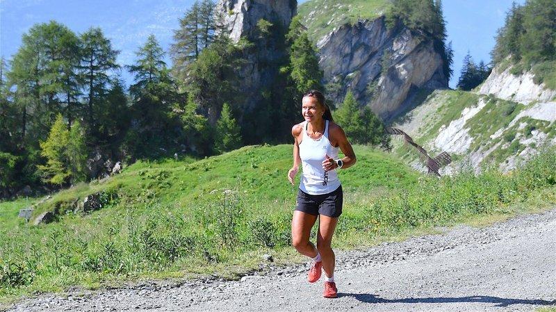 Laurence Yerly en plein effort sur le Tour des Alpages.