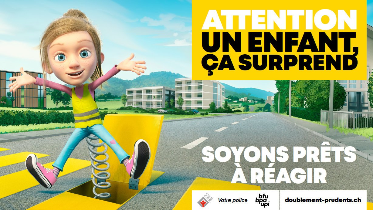 «Un enfant, ça surprend, même à vélo»: la police du Jura lance sa nouvelle campagne de prévention