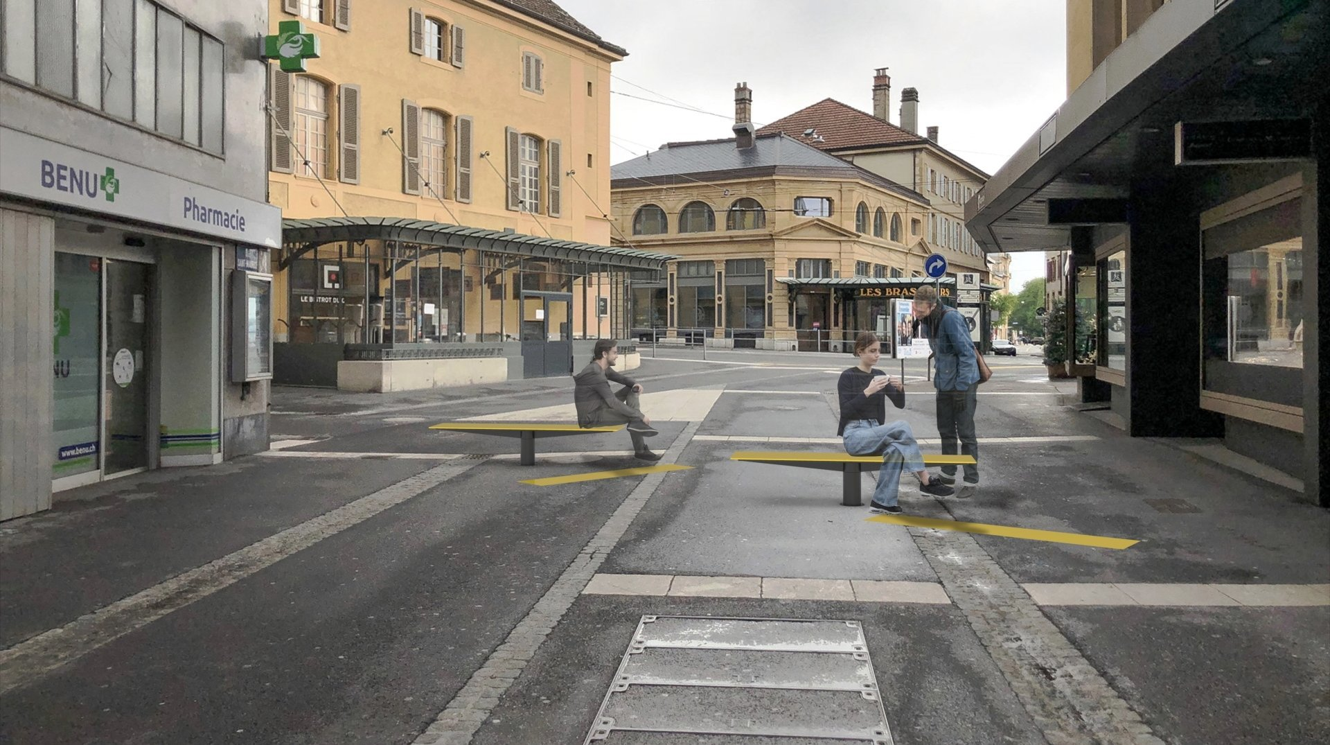 Zone piétonne de Neuchâtel: voici comment se présentent les futurs bancs pivotants