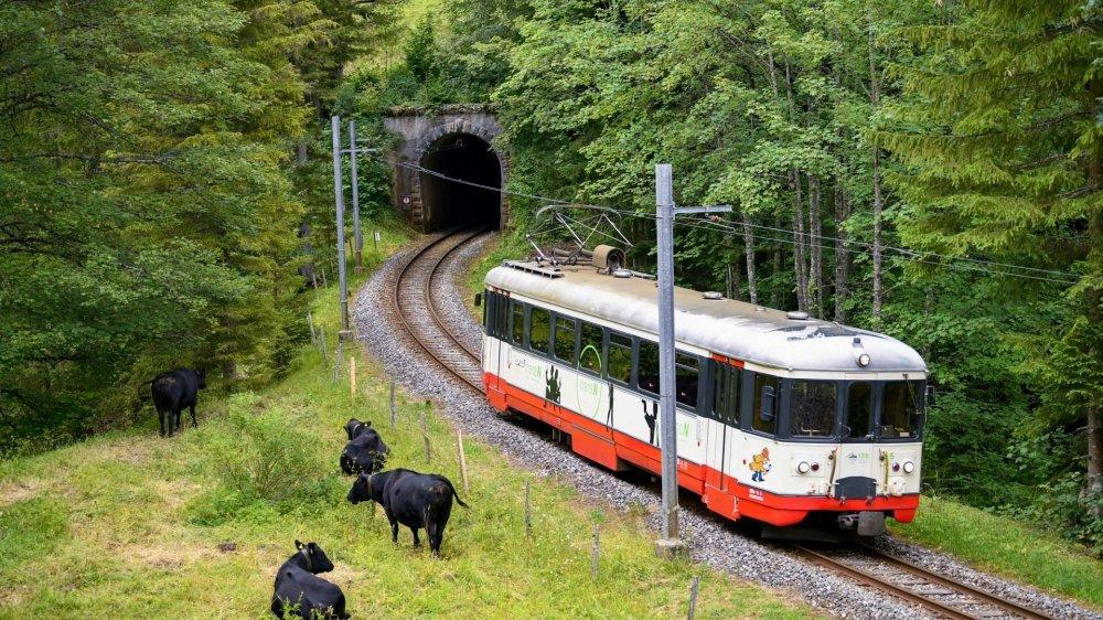 Le petit train des Brenets à la sortie du tunnel des Frêtes.