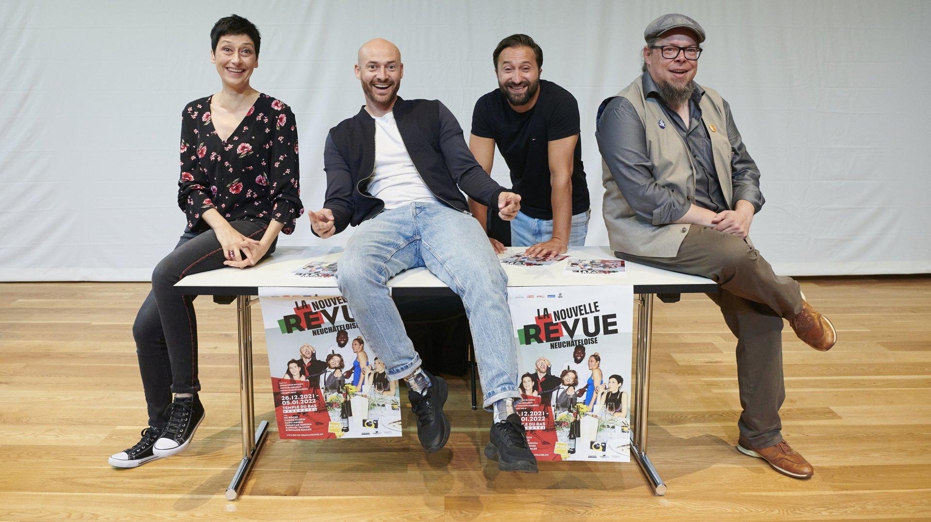 De gauche à droite: Mado Sierro, David Charles Haeberli (alias MC Roger), Avni Krasniqi et Matthieu Béguelin ce mercredi 15 septembre à Neuchâtel.