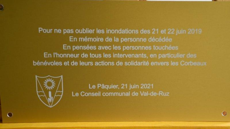 Inondations au Val-de-Ruz: les plaques commémoratives posées jeudi 30 septembre
