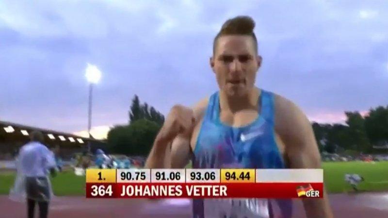 L'Allemand Johannes Vetter est devenu le deuxième homme le plus performant de l'histoire au javelot.