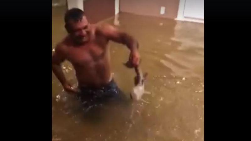 Tempête Harvey: un Texan pêche un poisson au beau milieu de son salon inondé