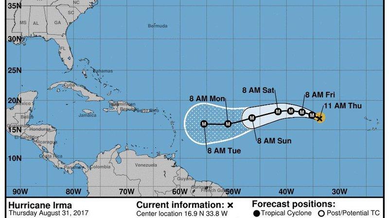 L'ouragan Irma monte en puissance et menace des Caraïbes jusqu'à la Floride