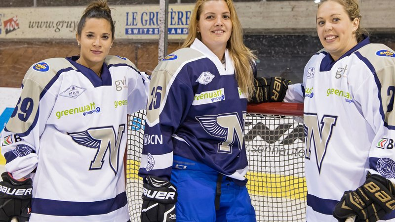 Les trois nouvelles étrangères étaient présentes pour la reprise. De gauche à droite: les internationales françaises Mylène Gonçalves  et Gwendoline Gendarme, ainsi que la Canadienne Kendra Broad.