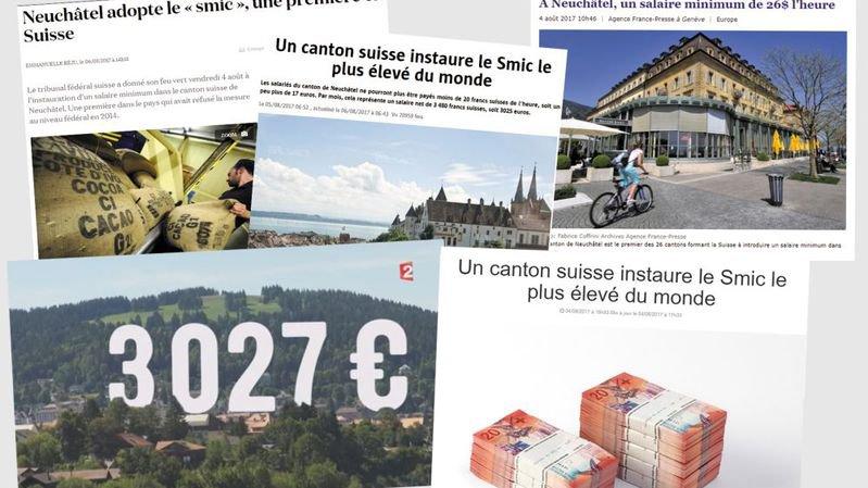 Le salaire minimum neuchâtelois fait la une des sites français.
