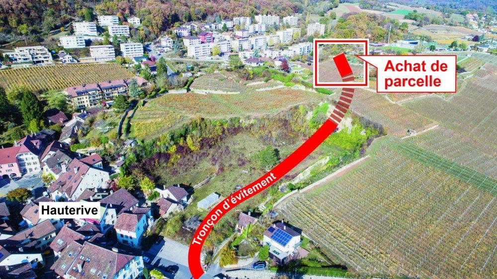 La parcelle que la commune pourrait acquérir est située au terme de la route d'évitement projetée.
