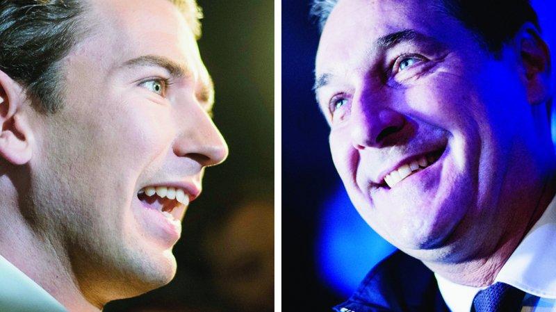 Selon de nombreux observateurs, une victoire de Sebastian Kurz (à gauche) dimanche irait de pair avec une coalition inédite entre son parti, celui des conservateurs,  et celui de Heinz-Christian Strache (à droite), leader du parti nationaliste FPÖ.