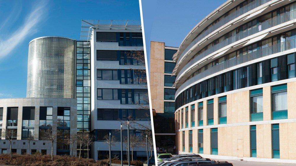 Les hôpitaux de La Chaux-de-Fonds, à gauche, et Pourtalès doivent être chapeautés chacun par leur SA.