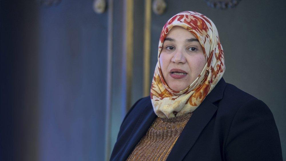 """La Chaux-de-Fonnière Nadia Karmous soutient Tariq Ramadan. """"Il est innoncent"""". Photo : Lucas Vuitel"""