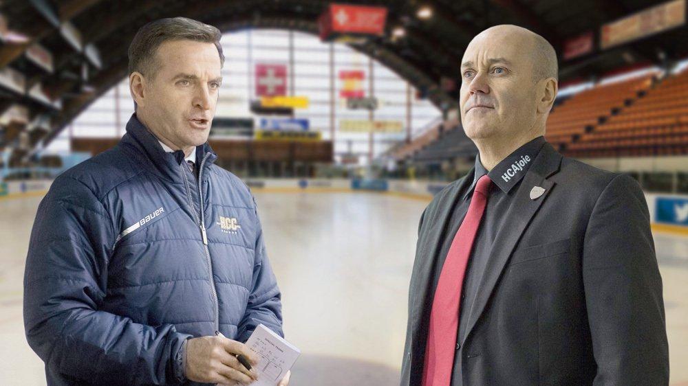 Serge Pelletier (entraîneur du HCC, à gauche) et Gary Sheehan (entraîneur du HCA) vont se retrouver opposé pour la première fois depuis longtemps dimanche au Voyeboeuf.