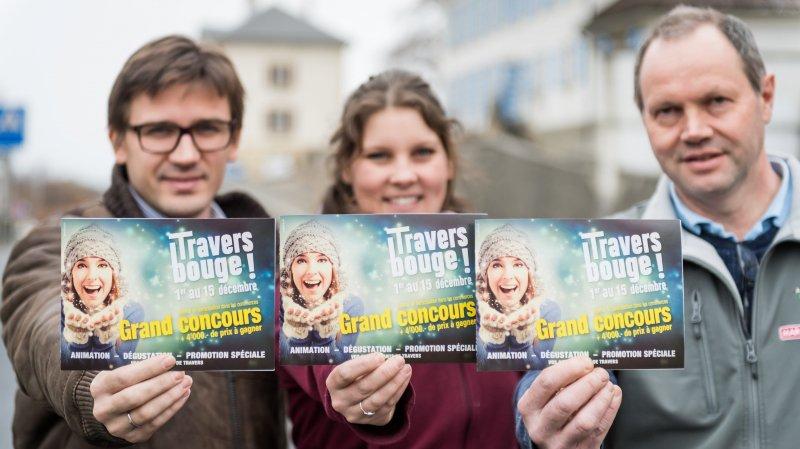 """Le pharmacien Jean-François Liquière, la fleuriste Laurie Pellet et le patron du Discount ABC Claude Jaccard présentent l'action """"Travers bouge!"""""""