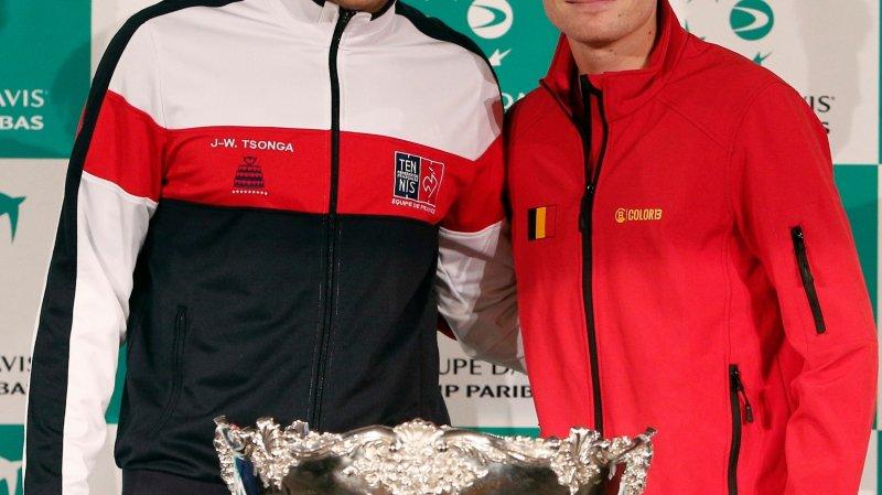 Un dixième Saladier d'argent pour la France de Jo-Wilfried Tsonga (à gauche) ou un premier sacre pour la Belgique de David Goffin? Réponse ce week-end.