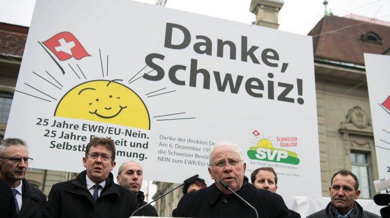 A l'occasion des 25 ans du non à l'Espace économique européen, Christoph Blocher avait fait le déplacement à Berne.