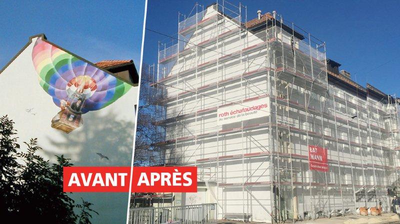 Peinture murale: la montgolfière de Carolus a été effacée sans prévenir à La Chaux-de-Fonds