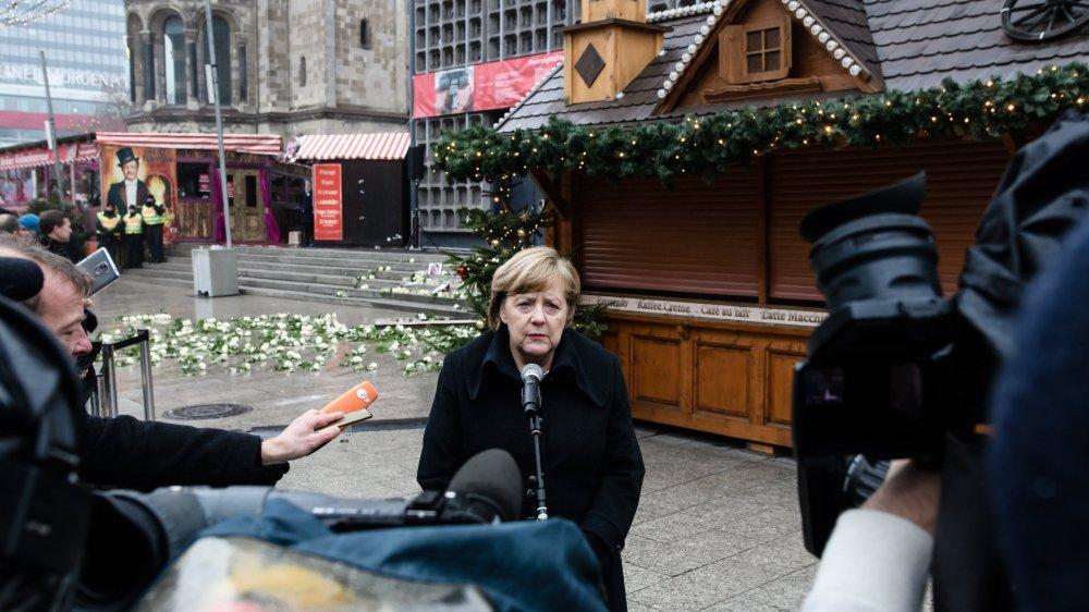 La chancelière allemande Angela Merkel s'est exprimée hier lors des commémorations de l'attentat au camion-bélier à Berlin.