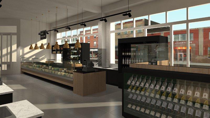 Image de synthèse des aménagements du marché couvert Hall'titude