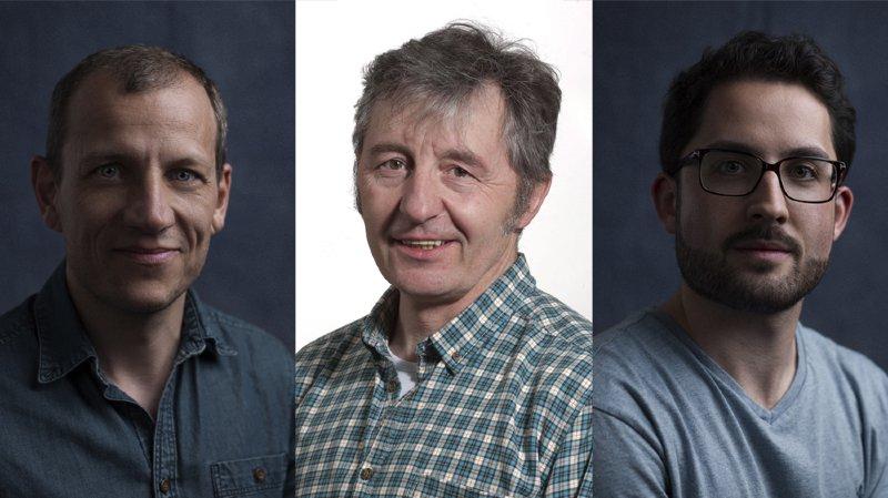 Les photographes de L'Express, L'Impartial et ArcInfo, de gauche à droite: David Marchon, Christian Galley et Lucas Vuitel.