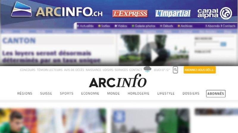Le site ArcInfo à son lancement en 2008 (en haut) et aujourd'hui (en bas).