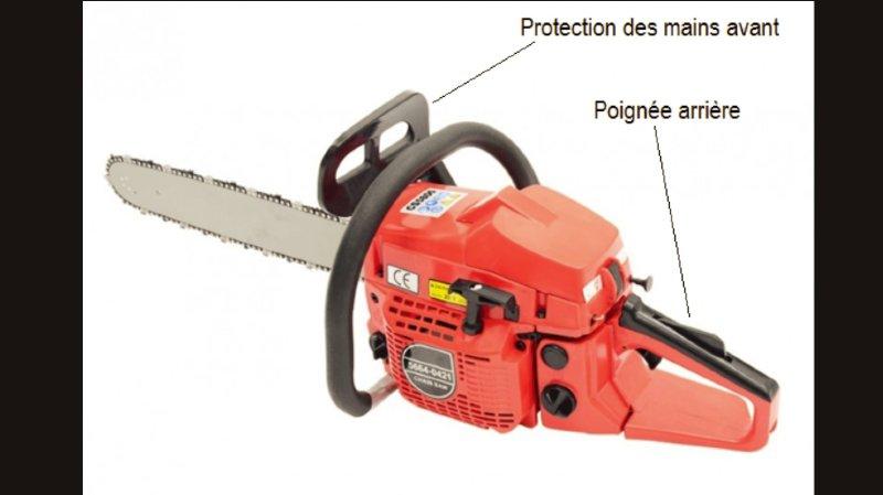 """Le modèle concerné est la tronçonneuse thermique """"Chain-Saw 5664-0421"""", portant chez Gonser la référence article ID 1829."""