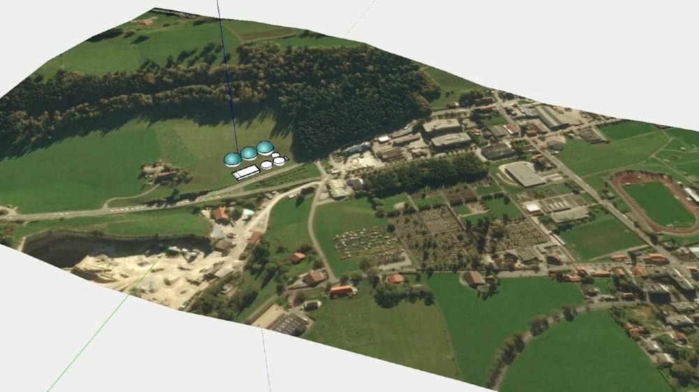 Le terrain prévu pour la centrale au pied du Chemin-Blanc.  L'usine devrait pouvoir «digérer» 50000 tonnes de lisier.
