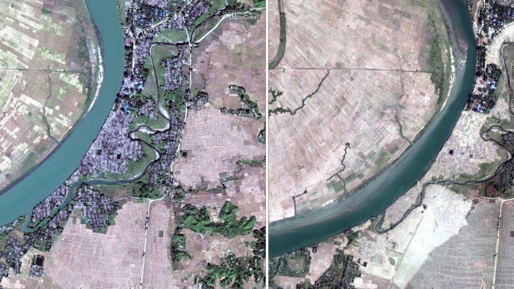 Les images avant-après: des villages rohingyas entiers ont été rasés par les bulldozers.