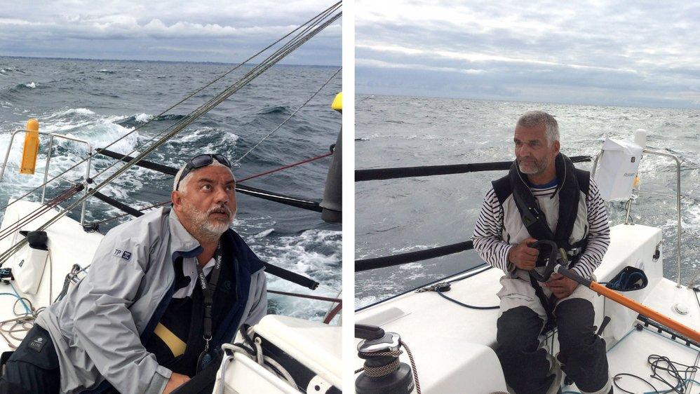 Nedeljko Mahmutovic et Olivier Hausheer à bord de leur voilier Marimar IV.