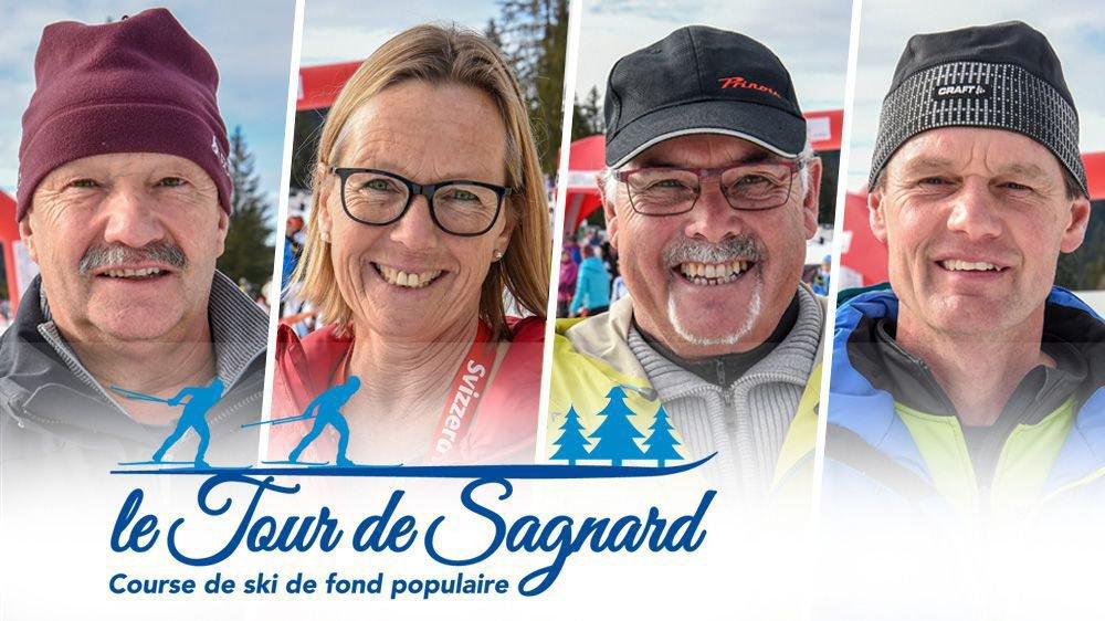 Les bénévoles du Tour du Sagnard travaille à pied d'oeuvre pour assurer l'organisation de cette épreuve populaire avec ici Francis Jacot, Caroline Hofmann, Michel Jean-Mairet et Laurent Singelé (de gauche à droite). Photomontage: François Allanou.