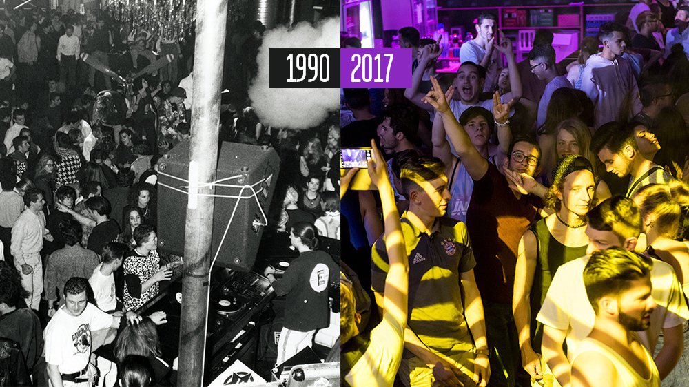 Une soirée au New York dans les années 1990 et une autre au Neuch'Dancefloor en 2017.