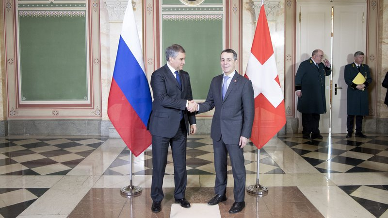 Le conseiller fédéral Ignazio Cassis a rencontré le président du Parlement russe Viatcheslav Volodine lundi dernier au Palais fédéral.