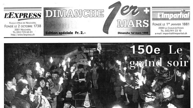 """La """"une"""" du numéro spécial publié par """"L'Impartial"""" et """"L'Express"""" le dimanche 1er mars 1998."""