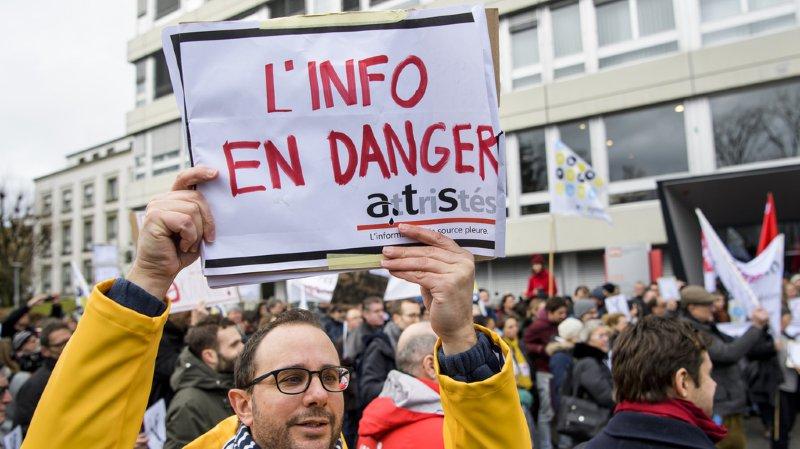 Le personnel en grève de l'ats a manifesté à Lausanne