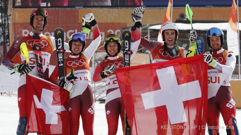 JO 2018 - ski alpin: la Suisse est championne olympique de l'épreuve par équipes