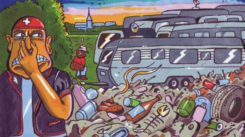 La caricature de l'affiche UDC.