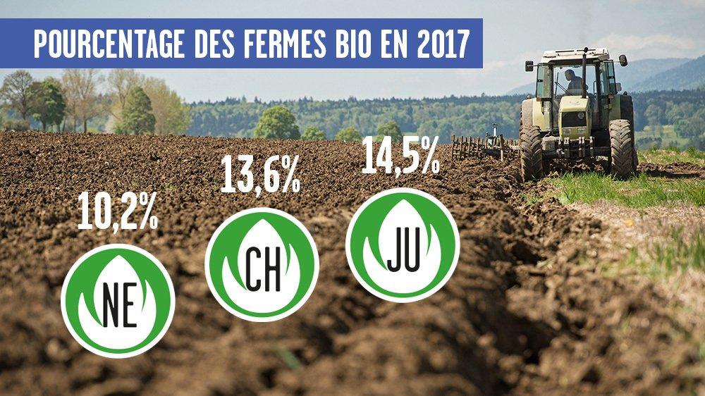 Le bio pousse bien dans le Jura. Neuchâtel se situe un peu en dessous de la moyenne nationale.