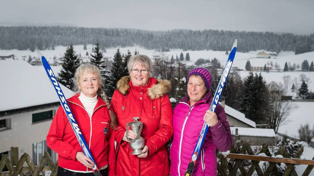 De g. à dr., Jacqueline Frey-Thommen, Arielle Maeder-Graber et Jocelyne Cosandey-Gindrat, premières participantes au Trophée du Muveran.