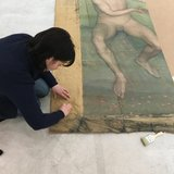 Restauration d'une oeuvre d'art en public