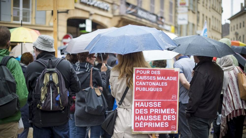 Une manifestation contre la hausse des primes maladie à Neuchâtel, en novembre 2016.