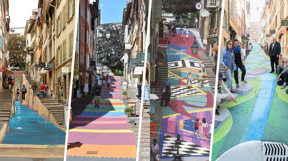 La rue des Chavannes est peinte depuis les années 80.