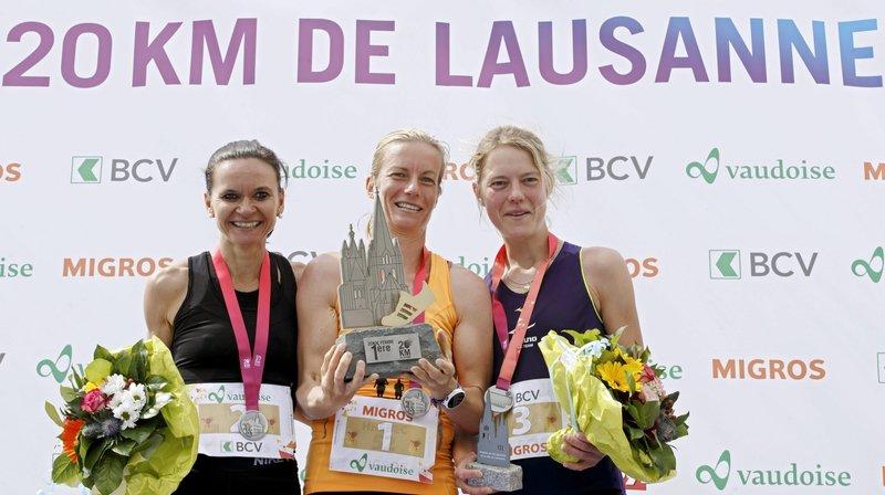 Le podium féminin des 20 km de Lausanne (de gauche à droite): Laurence Yerly, Laura Hrebec et Maya Chollet.