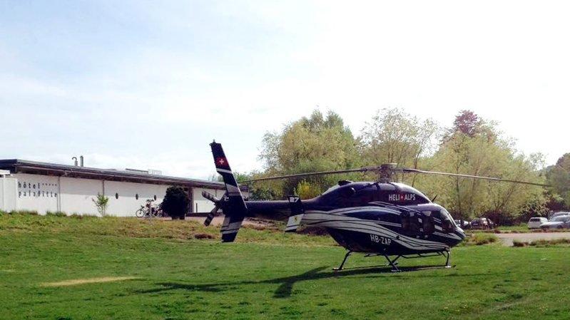 L'hélicoptère qui a déposé Christian Constantin à Neuchâtel.