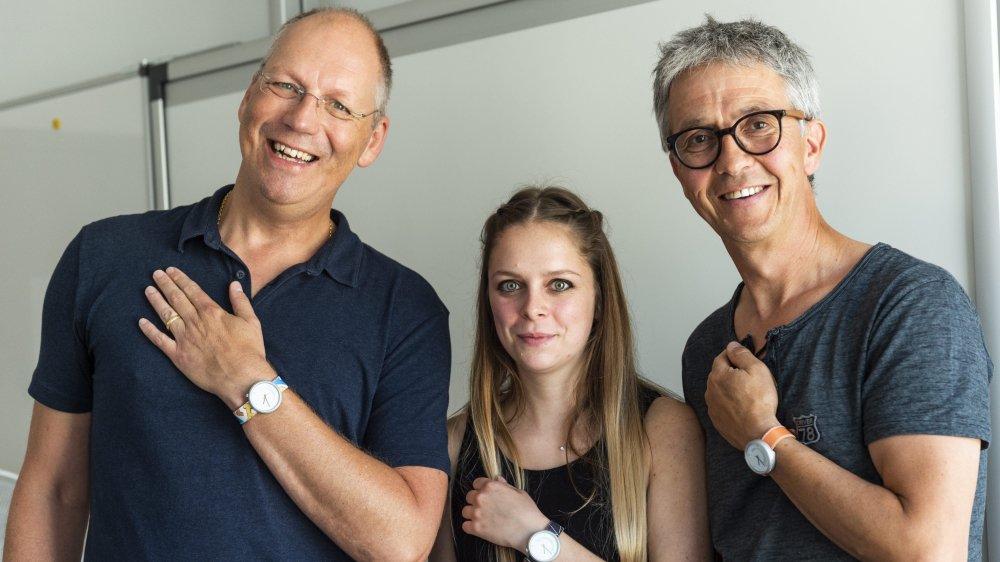 André Poulie, président de la fondation Théodora, Audrey Brossard, ingénieure en conception ergonomique et design de la He-ARc. et Pascal Docourt, directeur de l'Espace Formation Emploi Jura