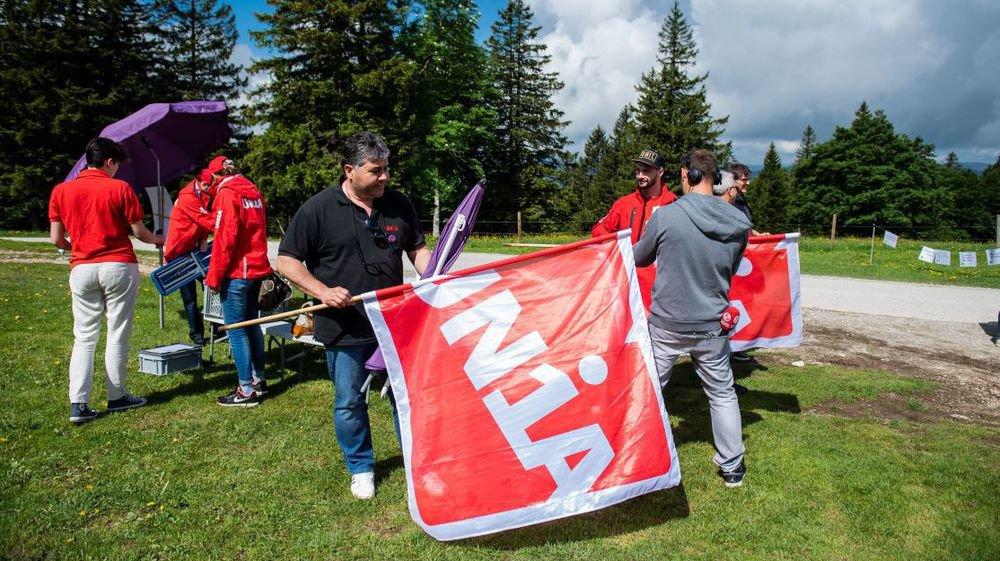 Les syndicalistes ont rapidement battu en retraite, près du restaurant du Soliat.