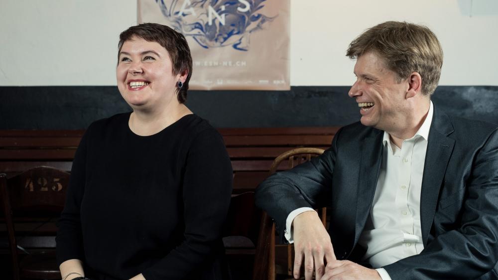 Très détendus, le chef de l'ESN Alexander Mayer et la soprano Irina Solomatina Tissot se retrouveront lors la 9e de Beethoven.